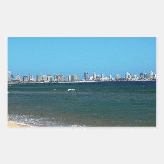 Playa de Punta del Este Pegatina Rectangular