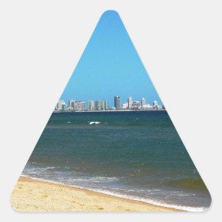 Playa de Punta del Este Pegatina Triangular