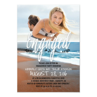 Playa dedicada de la foto del fiesta de compromiso invitación 12,7 x 17,8 cm