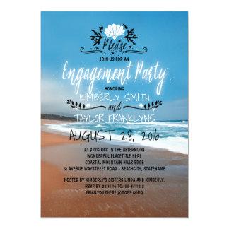 Playa del fiesta de compromiso de la playa el | invitación 12,7 x 17,8 cm