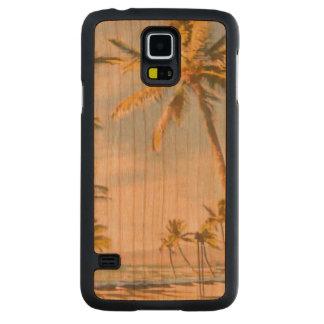 Playa del Hawaiian del vintage de PixDezines Funda De Galaxy S5 Slim Cerezo