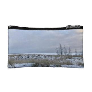 Playa en bolso del cosmético del invierno