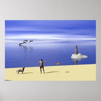 Playa en el día póster