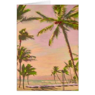 ¡Playa hawaiana/DIYcolor del vintage de Tarjeta Pequeña