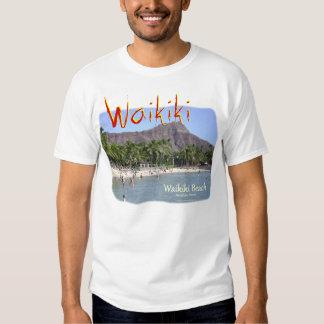 Playa Honolulu Hawaii de Waikiki con la cabeza del Camisetas