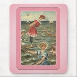 Playa Mousepad de los bañistas de Sun del vintage Tapete De Ratones