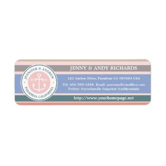 Playa náutica del rosa de moda de las rayas del etiqueta de remitente