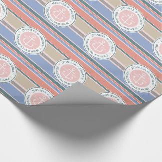 Playa náutica del rosa de moda de las rayas del papel de regalo