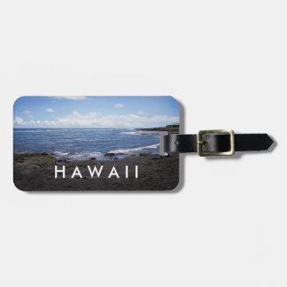 Playa negra Hawaii de la arena de Punalu'u Etiqueta Para Maletas