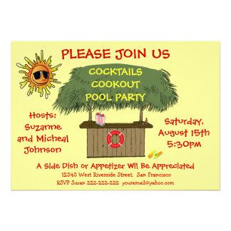 Playa o fiesta en la piscina del Cookout del cócte Invitación Personalizada