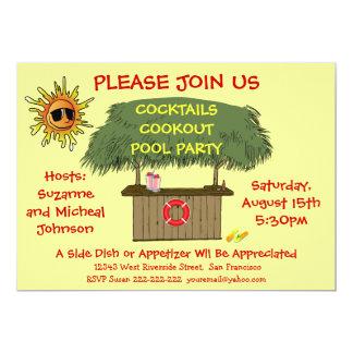 Playa o fiesta en la piscina del Cookout del Invitación Personalizada
