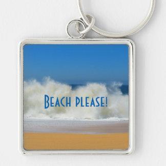 ¡Playa por favor! Escena de la playa con las ondas Llavero Cuadrado Plateado