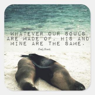 Playa romántica Emily Bronte de la cita de los Pegatina Cuadrada