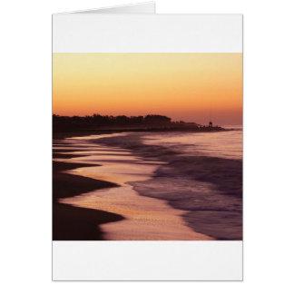 Playa Santa Cruz de Seabright de la puesta del sol Tarjeton