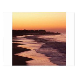 Playa Santa Cruz de Seabright de la puesta del sol Postal