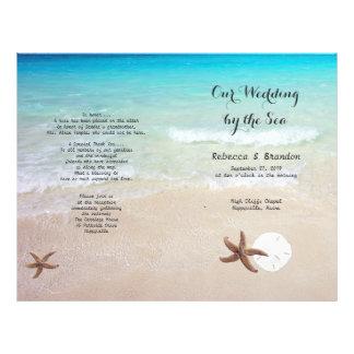 Playa tropical del océano doblada casando programa folleto 21,6 x 28 cm