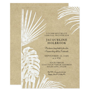 Playa tropical simple de Kraft de la ducha nupcial Invitación 12,7 X 17,8 Cm