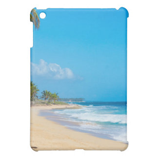Playa tropical tranquila. Olas oceánicas, cielos