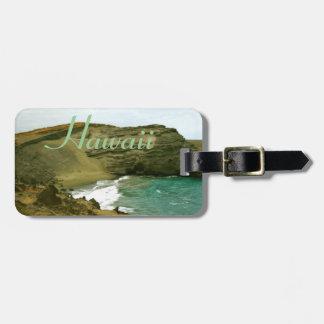 Playa verde hawaiana de las arenas de la hawaiana etiqueta para maletas