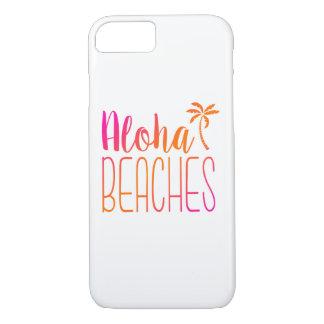 Playas de la hawaiana caja rosada y anaranjada del funda iPhone 7