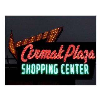 Plaza de Cermak, señal de neón en Berwyn IL Tarjetas Postales