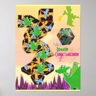 Plegamiento de Cuboctahedron del modelo del dragón Póster