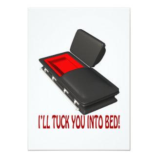 Pliegue enfermo usted en cama invitación 12,7 x 17,8 cm