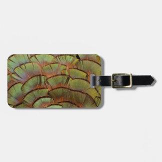 Pluma avivada verde del faisán etiquetas para maletas
