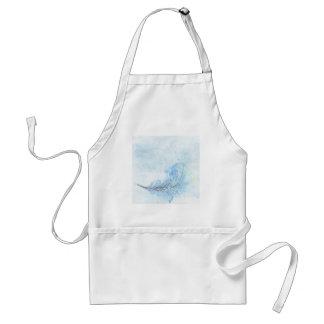 Pluma azul del Watercolour Delantal