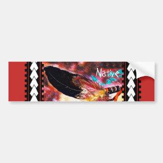 Pluma colorida de Eagle del nativo americano Pegatina Para Coche