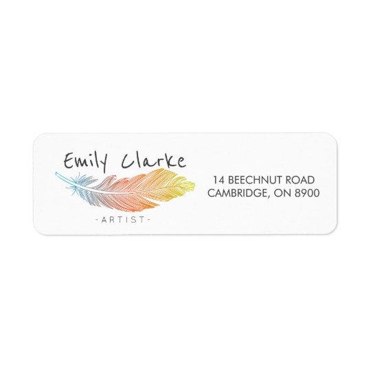 Pluma colorida personalizada etiqueta de remitente