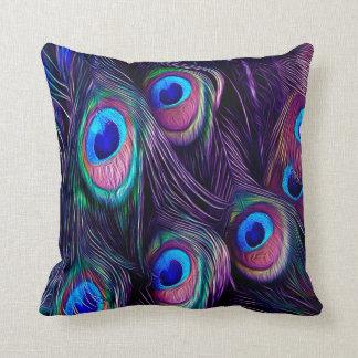 Pluma del pavo real cojín decorativo