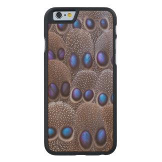 Pluma manchada azul del faisán funda fina de arce para iPhone 6 de carved