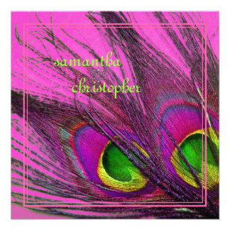 Pluma psicodélica rosas fuertes del pavo real de P Comunicado Personal