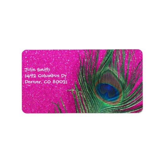Pluma rosada reluciente del pavo real etiqueta de dirección