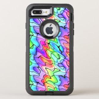 Pluma y acuarela coloridas de la tinta funda OtterBox defender para iPhone 7 plus