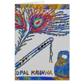 Pluma y flauta - liebre Krishna del pavo real Tarjeta De Felicitación
