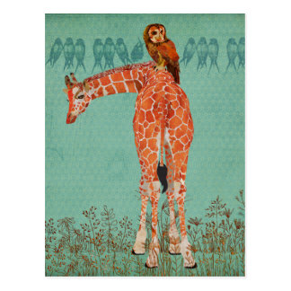 Plumas ambarinas de la jirafa y del búho postales