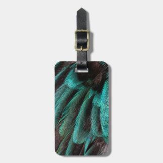 Plumas azules del abrigo de ala etiquetas para maletas