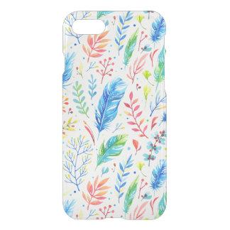 Plumas bohemias coloridas claras funda para iPhone 7
