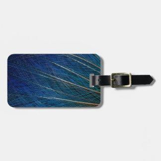 Plumas de ave del paraíso azules etiquetas para maletas