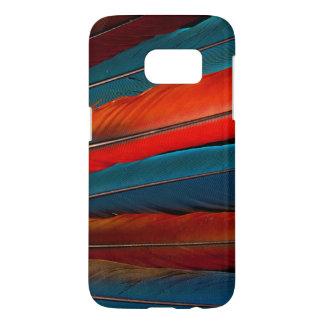 Plumas de cola del Macaw del escarlata Funda Samsung Galaxy S7