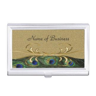 Plumas de oro elegantes del pavo real del remolino cajas de tarjetas de presentación