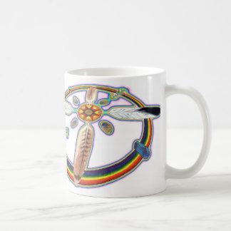 Plumas del arco iris taza de café