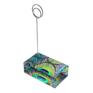 Plumas del pavo real en la turquesa soporte para tarjetas de mesa