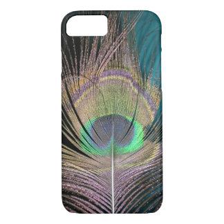 Plumas del pavo real en negro y turquesa funda iPhone 7