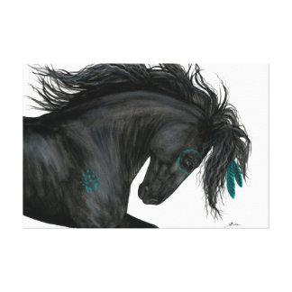 Plumas majestuosas de la turquesa del caballo por lienzo