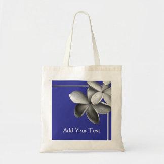 Plumeria azul y de plata bolsa tela barata