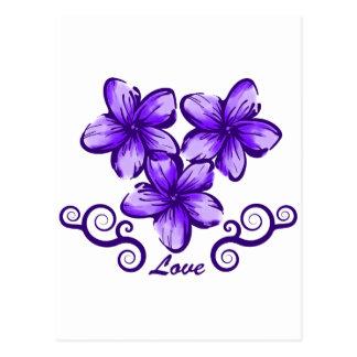 Plumeria de Hawaii del amor Tarjetas Postales