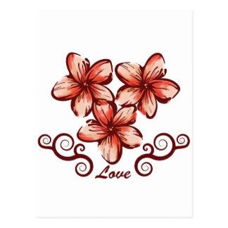 Plumeria de Hawaii del amor Tarjeta Postal